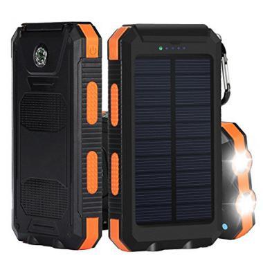 Chargeur Solaire de 10000 mAh, Bovon Panneau Solaire Portable avec Double Port  @ Amazon.fr