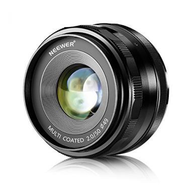 Neewer 50mm f/2,0 Objectif Fixe Focus Manuelle pour OLYMPUS et PANASONIC APS-C  @ Amazon.fr