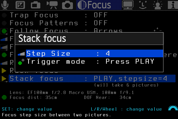 Magic Lantern Stack Focus