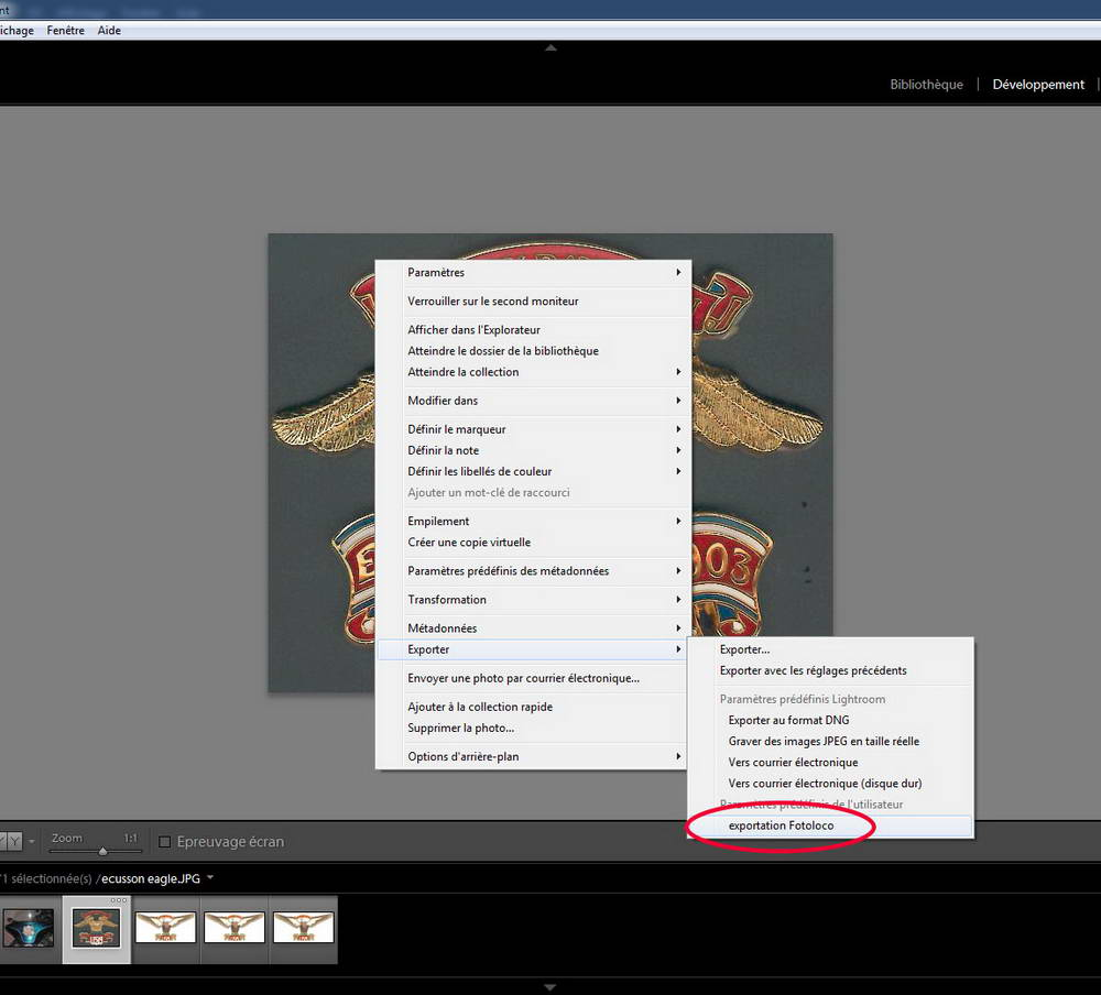 Exporter ses photos lightroom pour fotoloco