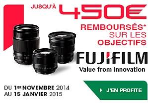 Remboursement Fujifilm: jusqu'à 450€ sur l'achat simultané* d'objectifs XF ou XC