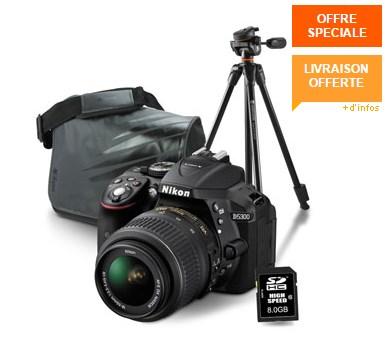 Nikon D5300 + 18-55 + sacoche + SD8Go + Trépied à 609€ @ materiel.net