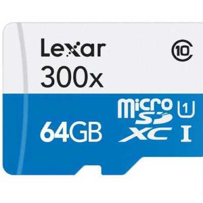 Lexar Carte Mémoire Micro SDXC Classe 10 64 Go + Adaptateur SD @ Amazon