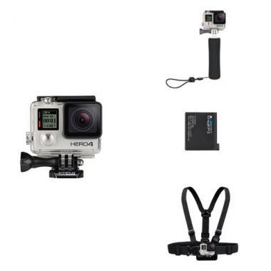Pack GoPro HERO4 Silver + Poignee Flottante + Batterie Rechargeable + Harnais de fixation torse @ Amazon.fr