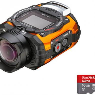 Ricoh WG-M1 Camera  etanche miniature + Dragonne avec Mousqueton + Support adhesif + Carte Micro SD 16 Go 14 Mpix Orange @ Amazon.fr