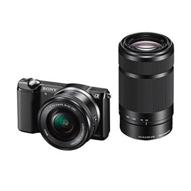 Sony A5000 ILCE5000YB.CEC Appareil photo numerique hybride 20 Mpix Zoom optique 4x + Objectif 16-50 mm retractable Noir + 55-210 mm Noir @ Amazon.fr