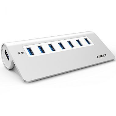 AUKEY Hub USB 3.0 7 Ports SuperSpeed en Aluminium C?ble USB 100cm inclus compatible avec Windows XP / Vista / 7 / 8 / 10 , Mac OS , Linux ( Argent ) @ Amazon.fr
