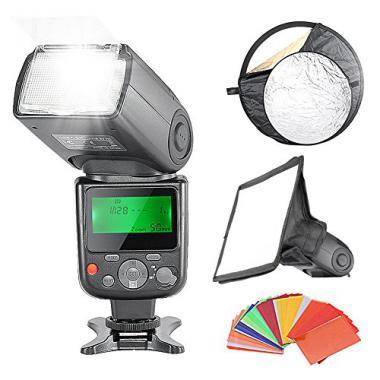 """Neewer Professionel E-TTL Flash Reflecteur Kit pour Canon Rebel T5i T4i T3i T3 T2i T1i SL1, EOS 700D 650D 600D 1100D 550D 500D 100D 6D, 1Ds Mark III, 1Ds Mark II, 5D Mark III, 5D Mark II, 1D Mark IV, 1D Mark III et les Autres CANON Reflex Num?rique, Comprend: (1) )NW670 E-TTL Speedlite Flash avec LCD Ecran pour Canon (1)6x8""""/20x15cm Dome softbox (1)22""""/60cm 5-en-1 R?flecteur (1)35-Pi?ces Filtres Gel en Couler @ Amazon.fr"""