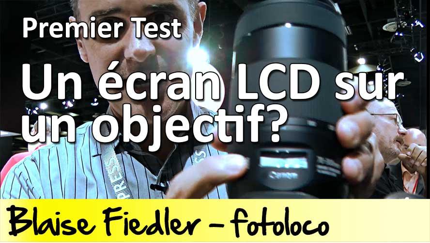 Un écran LCD sur un objectif photo Canon EF 70-300mm f/4.5-5.6 IS II USM