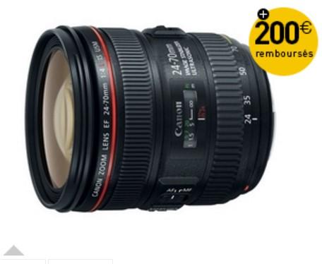 200€ remboursés sur Canon 24-70 f/4 IS L @ Miss Numérique