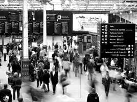 Scotland, Edinburgh, train station, Black & White