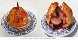 Douillon à la poire et crème de cassis (spécialité normande)
