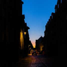 Eclairage de ville au coucher du soleil