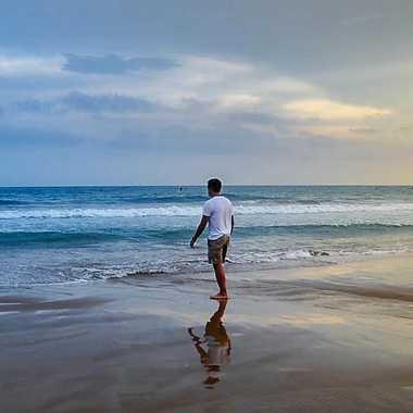 La plage par bleu